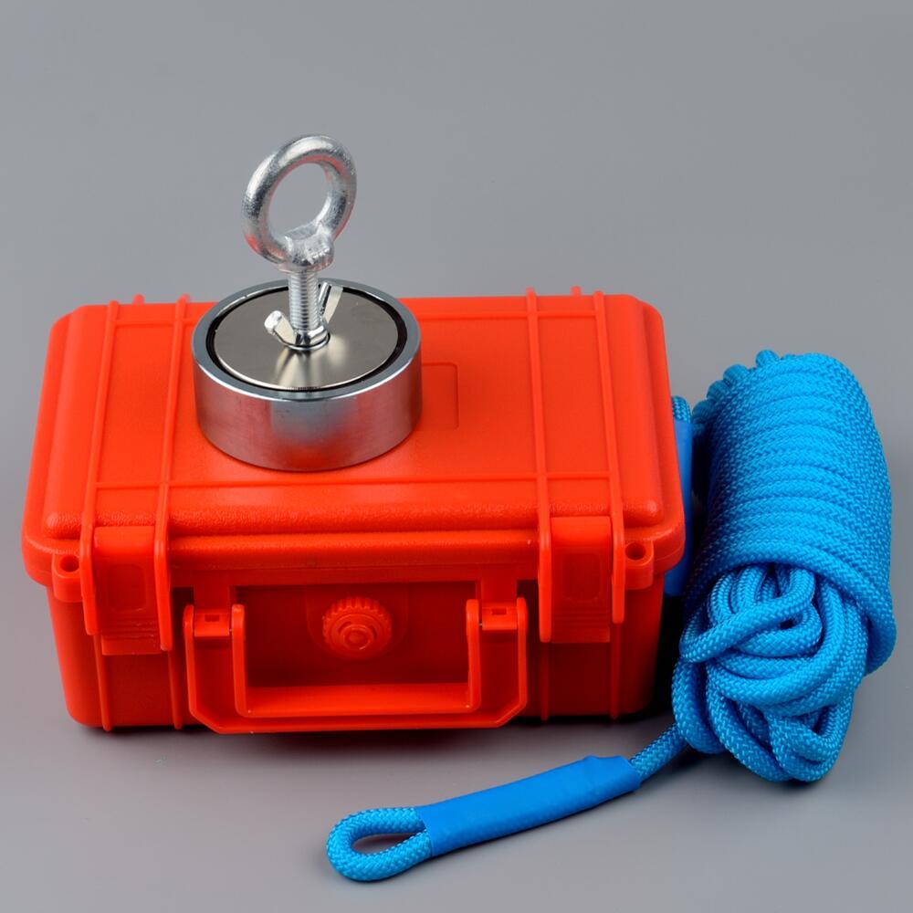 300 kg * 2 Trazione Verticale-forza Neodimio Magnete Pesca Corda in Cassetta Di Sicurezza D74 * 28mm di Ricerca di salvataggio Metallo Cacciatore di Tesori di Sollevamento