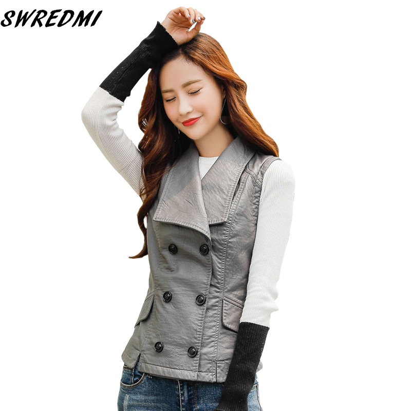 SWREDMI 2019 Spring Large Turn-down Collar Women   Leather   Vest Streetwear Sleeveless   Leather   Clothing Double Breasted Vest Coat