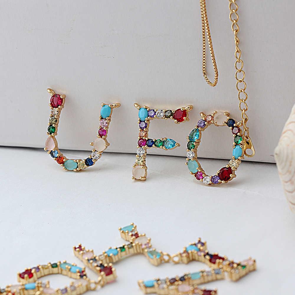 Новое поступление, горячая Распродажа персонализированное Имя ожерелье с буквенными подвесками Радуга CZ инициалы алфавит для женщин девочек великолепный для семьи ювелирный подарок