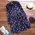 2016 Spring Women Long dress Stand Neck Full Sleeve Print Sen Wind Bird Dresses Dark Blue 9038