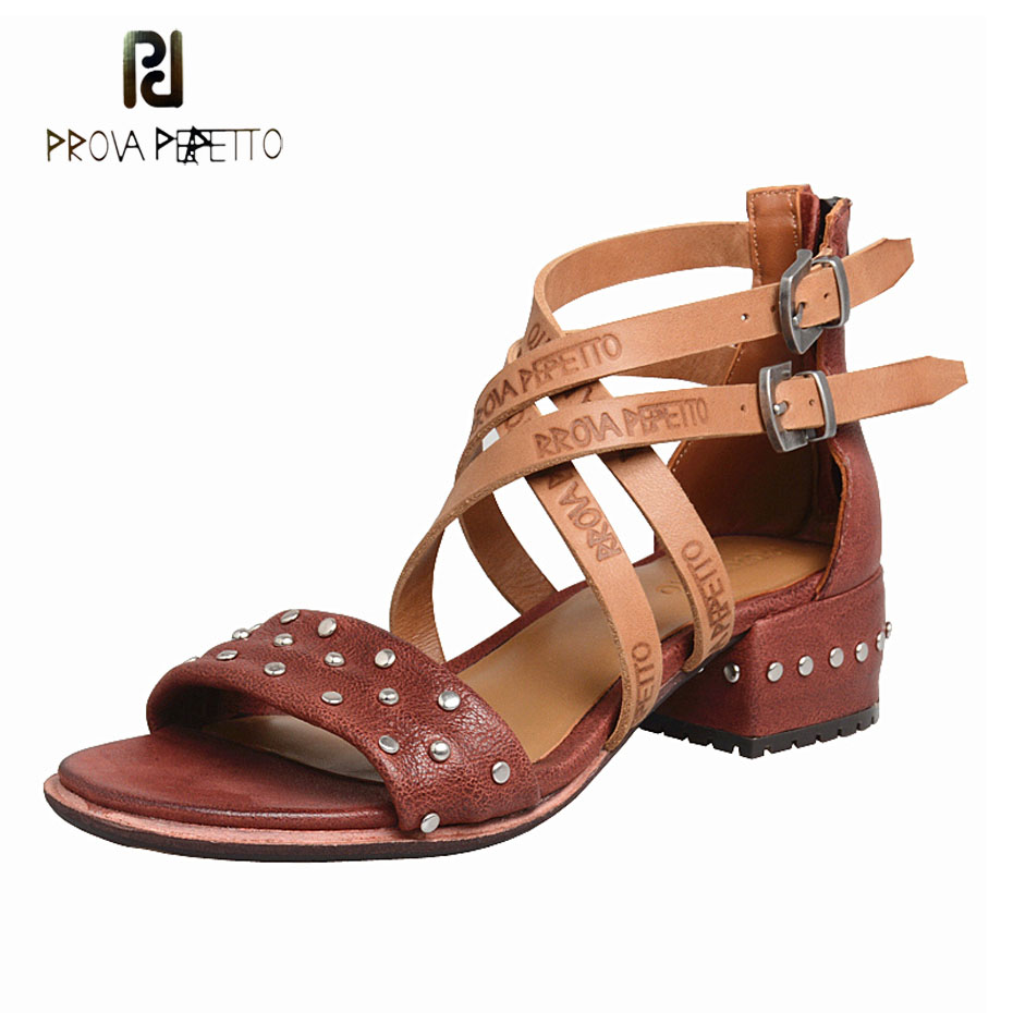 Prova Perfetto Do Old Soft Cow Leather Fashion Low Heels Sandals Cross Strap Rivets Stud Gladiator