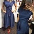 2016 Горячей Продажи Случайные Линии Dot Женщины Популярные Dress Коротким Рукавом O-образным Вырезом До Колен Dress Летом Стиль Пояса Одежды плюс размер