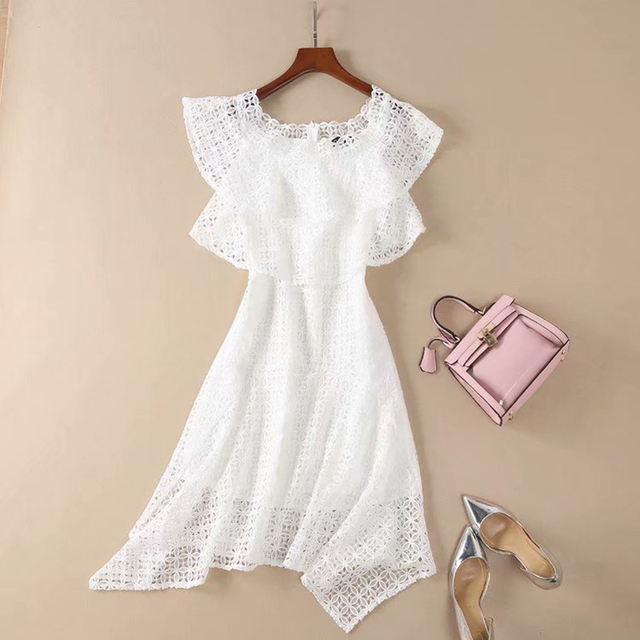 14f732651f7ba US $56.94 15% OFF|HIGH QUALITY New Fashion 2019 Summer Designer Runway  Women's Sweet Butterfly Sleeve Slash Neck White Hollow Out Lace Mini  Dress-in ...