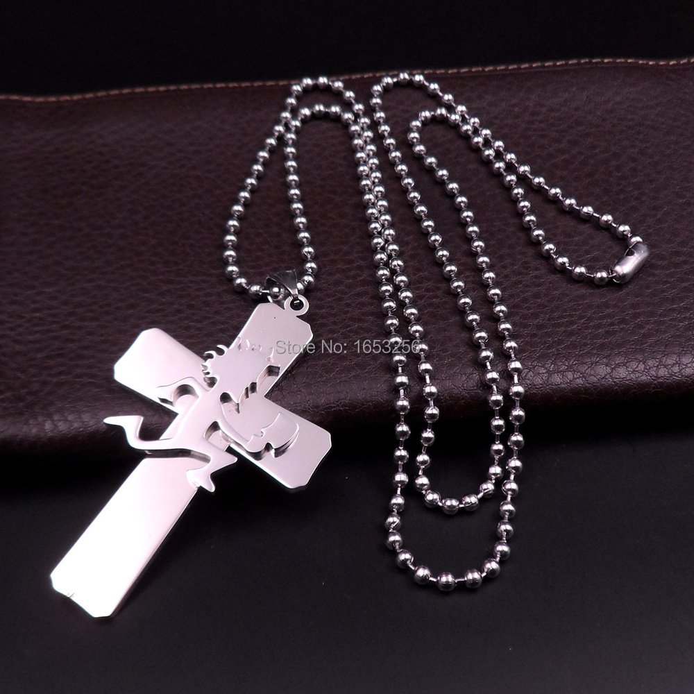 Gothic Mens Biker Jewelry Stainless Steel Large Cross with HATCHET