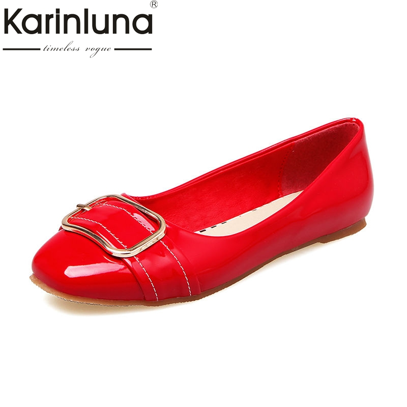 Karinluna 2018 Spring Autumn Fashion Patent Leather Women Flats Big Size 34-43 Shallow slip-on Buckle Shoes Woman Casual Shoes plue size 34 49 spring summer high quality flats women shoes patent leather girls pointed toe fashion casual shoes woman flats