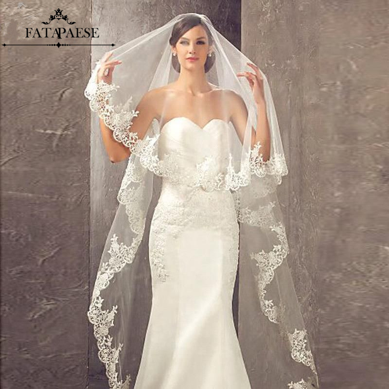 Long Veils Lace One-Layers Comb Appliques with Wedding-Accessories Veu-De-Noiva