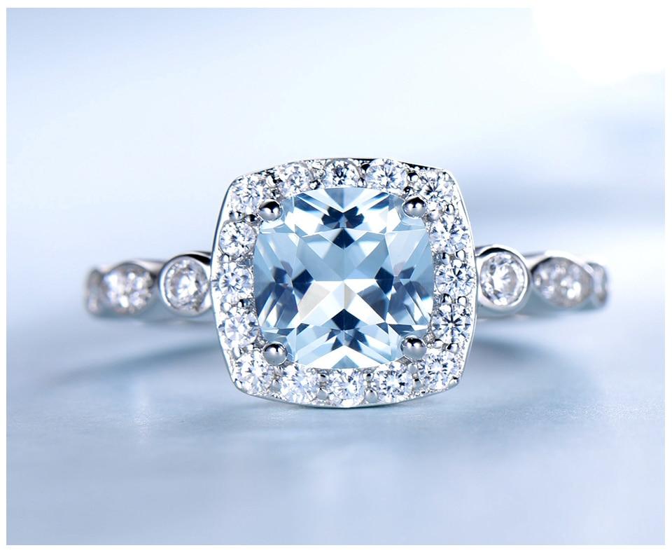 HTB1XkO2eA9E3KVjSZFGq6A19XXaj UMCHO Real S925 Sterling Silver Rings for Women Blue Topaz Ring Gemstone Aquamarine Cushion Romantic Gift Engagement Jewelry