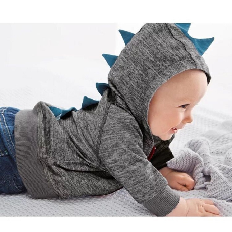 Cotton Dinosaur Spring Kids Coats Baby Boys Outerwear Jacket Long Sleeve Toddler Boys Outerwear Gray Hooded Baby Jacket Coat