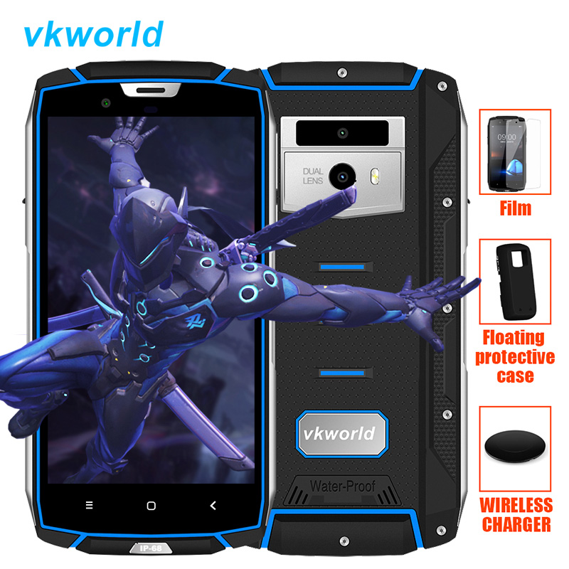 Free Wireless Charger Vkworkd VK7000 4G LTE IP68 Rugged Smartphone Android 8.0 Octa Core 4GB+64GB Waterproof Shockproof Phone