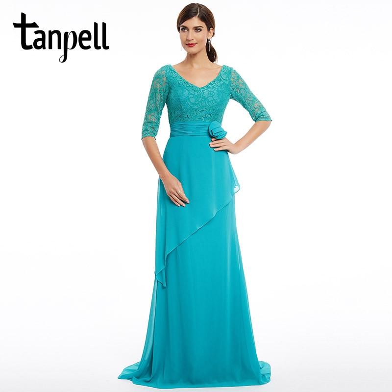 Tanpell σκούπισμα φόρεμα βράδυ φόρεμα νέα μπλε v μανίκια μισό μανίκια πάτωμα μήκος φόρεμα λουλούδια δαντέλα μια γραμμή επίσημη φόρεμα βραδινό φόρεμα