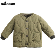 WABOOC Children Kid Wave Thread Cotton Jacket Boy Girl Retro Dark Color Down Coat Clothes