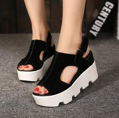 2015 nueva primavera verano mujeres sandalias peep toes de fondo grueso  pendiente plataforma Velcro sandalias de