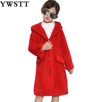 Sheep shearing children's clothing fur Boys and Girls baby long wool coat jacket 2018 Kids Winter warm coat