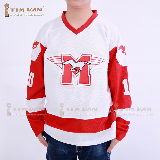 TIM VAN STEENBERGE Youngblood Rob Lowe 10 MUSTANGS Hockey Jersey Stitched  Sewn-White 7234ef6037