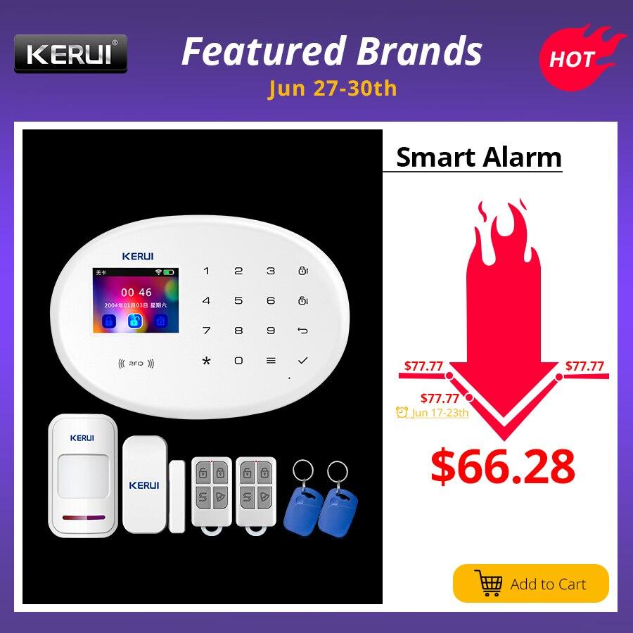 KERUI WIFI domowy system alarmowy GSM z ponad 2.4 cal TFT panel dotykowy APP sterowania karty RFID bezprzewodowy inteligentny dom alarm antywłamaniowy