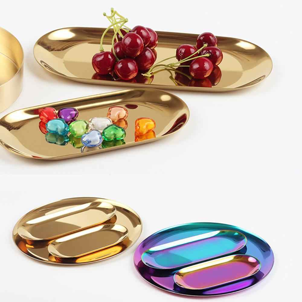 Penyimpanan Tray Rose Emas In Mewah Kuningan Perak Melayani Nampan Makanan Penutup Piring Buah Perhiasan Tampilan Nampan untuk Dekorasi Rumah