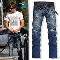 2017 Nuevos Hombres de la Moda Denim Jeans Pantalones Slim Patchwork Punky Apenada Deshilachados Pantalones Largos Breve Masculinos Pantalones de Talla grande de La Vendimia