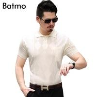 Batmo 2017 new arrival summer silk 100% Breathable printed casual loose navy blue polos shirt men 3 color