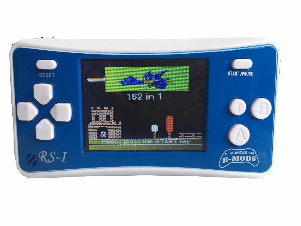 2.5″ Portable 8 Bit Video Game Console Handheld Rechargable Game Player Built-in 162 Games Support AV Output Blue