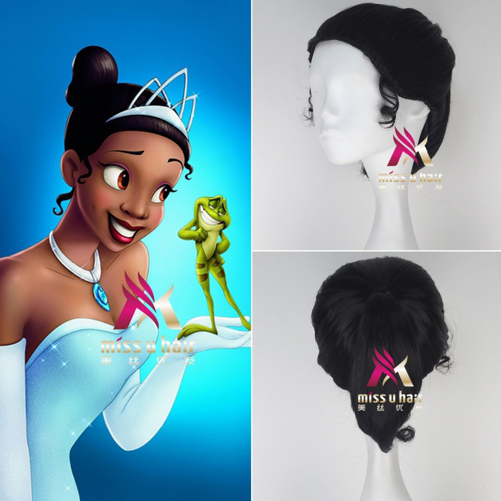 New Movie Princess Tiana Cosplay Wig 2019 Film The Princess and the Frog Brown Bun Pigtail Synthetic Hair for Adult