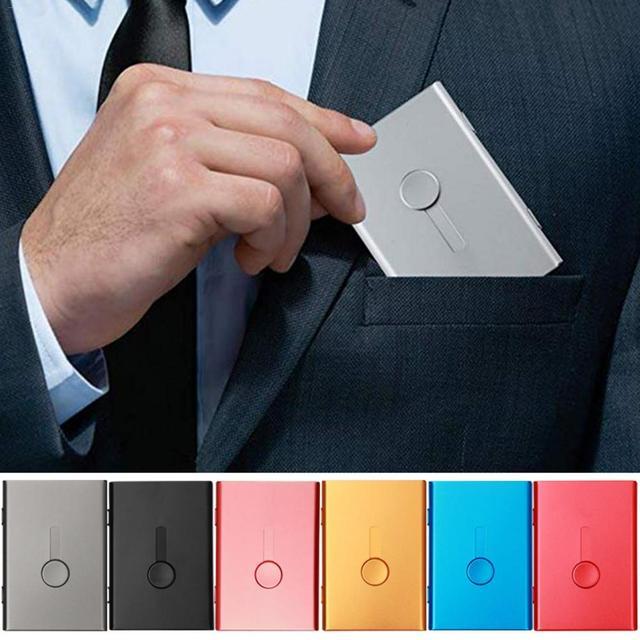 Business Card Holder Hand Push Card Case Bank Card Membership Package Metal Ultra Thin Business Card Packaging Box Organizer 1