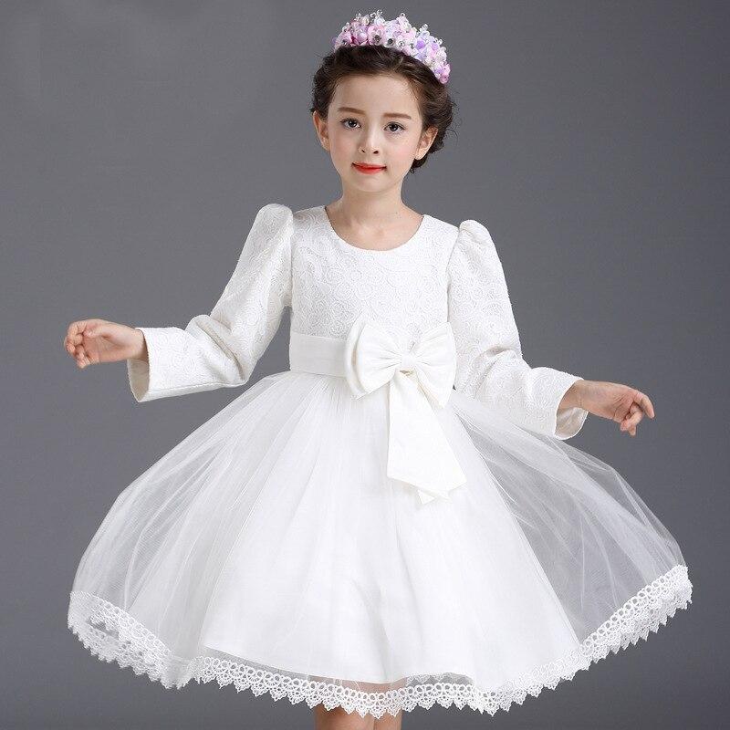 Őszi hercegnő fél fehér menyasszonyi ruhák gyerekek csípős íj - Gyermekruházat - Fénykép 3