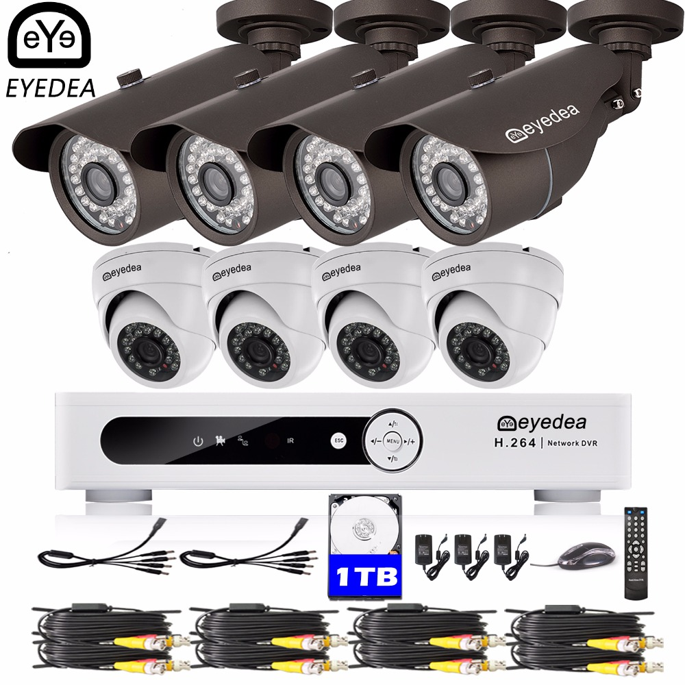 Eyedea 16 CH Remote Access DVR HD 2.0MP Bullet Dome Outdoor Night Vision Surveillance CCTV Security Camera System 1TB Hard Drive remote control dvr dome camera led array sd card tv output up to 20m night vision dome camera recorder free shipping