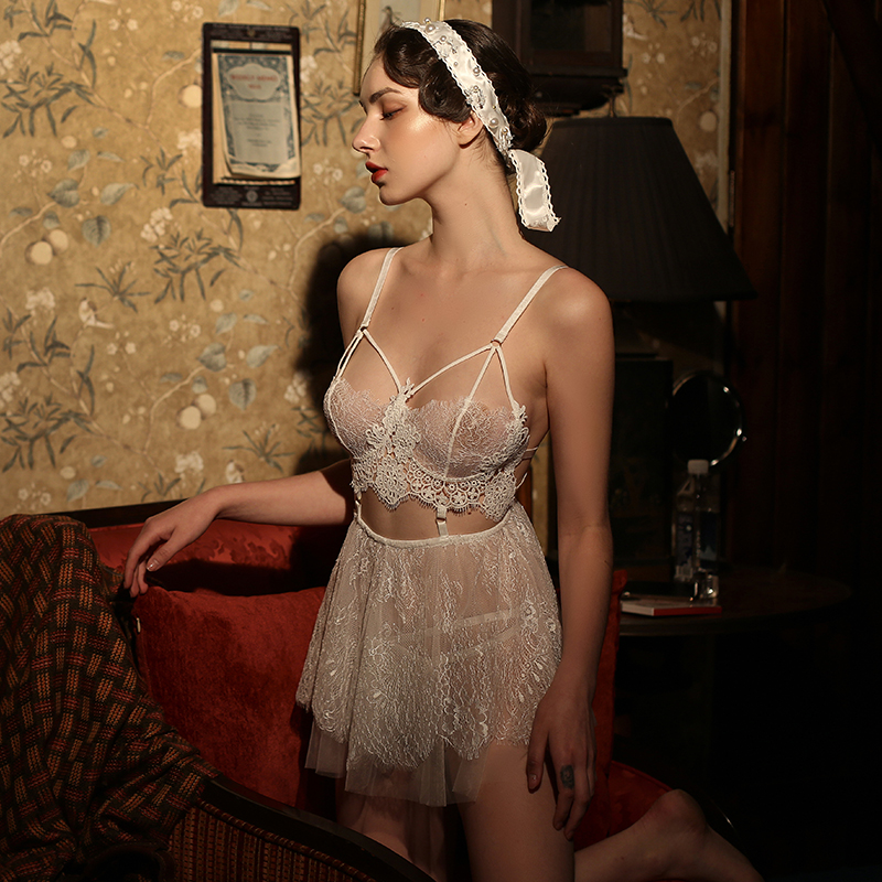 Summer Sexy Nightdress Women Straps Lace Sleepwear Perspective Gauze Temptation Homewear Nightgown Underwear Night Dress