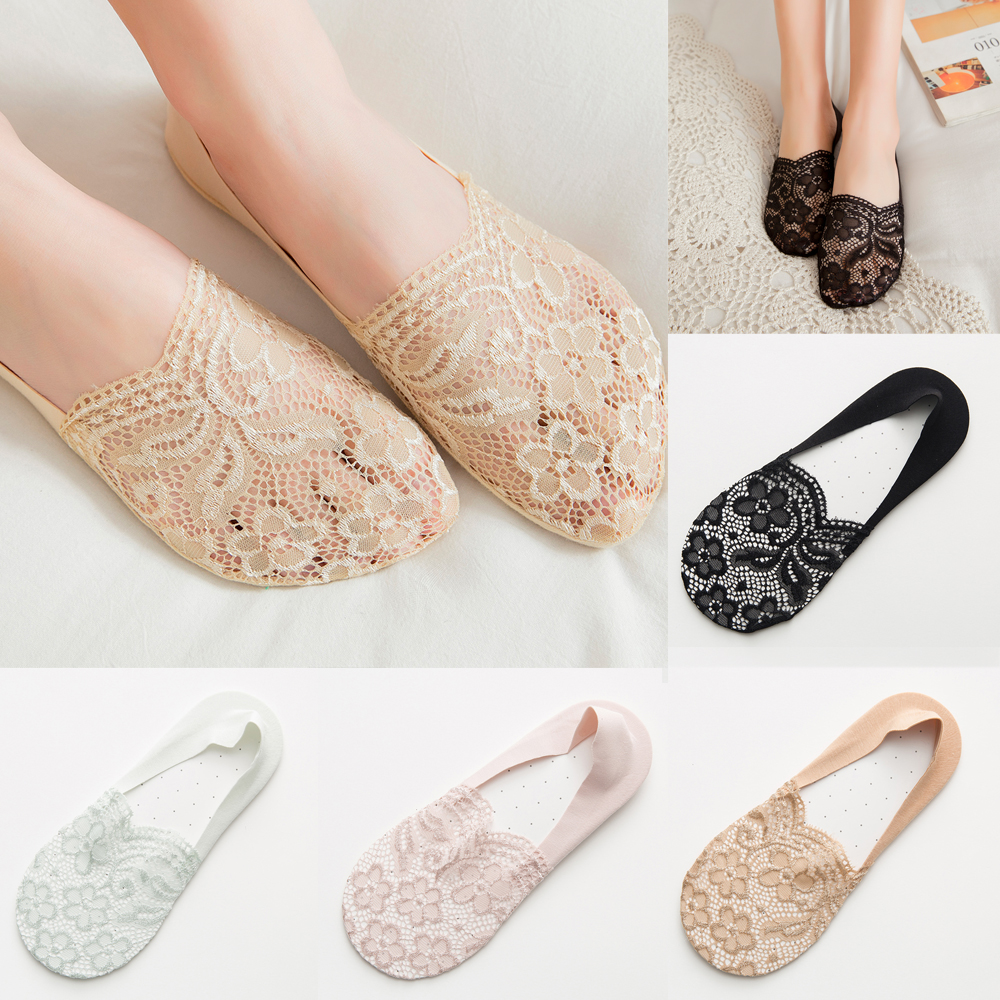 Fashion Women Summer Socks Lace Flower Short Sock Invisible  1 Pair Socks