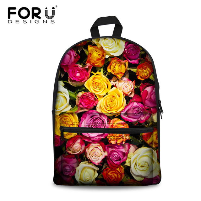 c911eaccf8 FORUDESIGNS Colorful 3D Floral Rose Printing Schoolbags for Kids Girls  School Student Bookbag 3D Floral Leaf Pattern School Bags