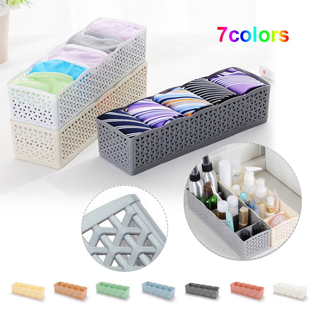 5 Grids Storage Basket Wardrobe Organizer Plastic Container Makeup Organizer Office Desktop Storage Box For Socks Underwear(China)