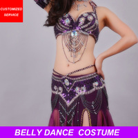 2018 New Performance Dancewear Belly Dance Clothes Outfit B/C Cup Maxi Skirt Professional Women Egyptian Belly Dance Costume Set
