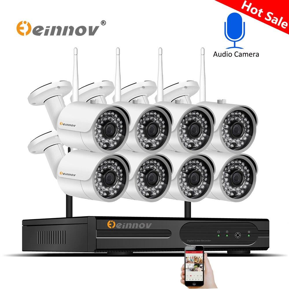 8CH 1080 P 2MP Câmeras de Segurança Sem Fio Para Casa Sistema de Vigilância de Vídeo Da Câmera IP Kit NVR Wi-fi Registro de Áudio CCTV conjunto Kamera