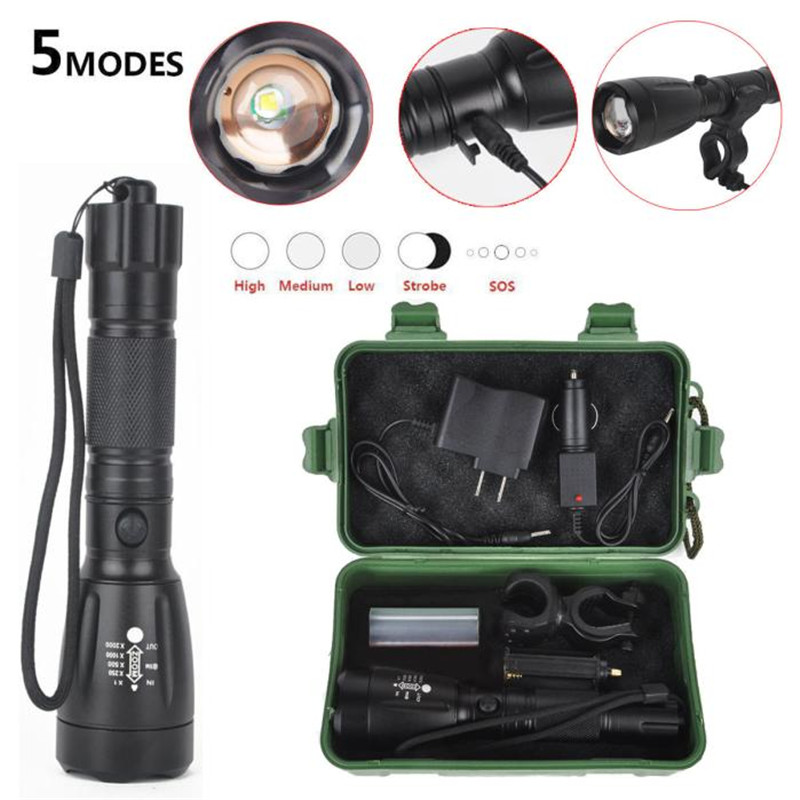 Cycling Bicycle Front Head Torch 5000LM  Q5 LED Flashlight 18650 Zoom Rechargeable Light + Charger+ Box Bike Accessories M12 white purple yellow light led flashlight stainless steel torch 18650 rechargeable uv torch olight jade identification