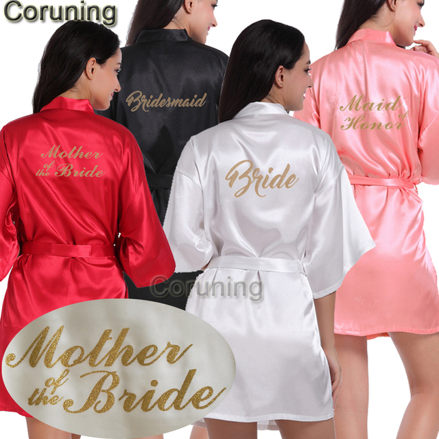 4a1ca4a31f RB91 2017 Fashion Silk Bride of Mother Robe with Gold Letter Sexy Women  Short Satin Wedding Kimono Sleepwear Get Ready Robes
