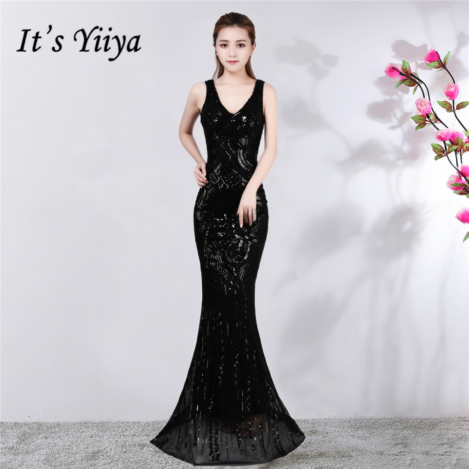 It's Yiiya Evening dress V-neck Floor-length Sequined Trumpet Party Gowns Sexy Zipper back sleeveless Mermaid Prom dresses C163