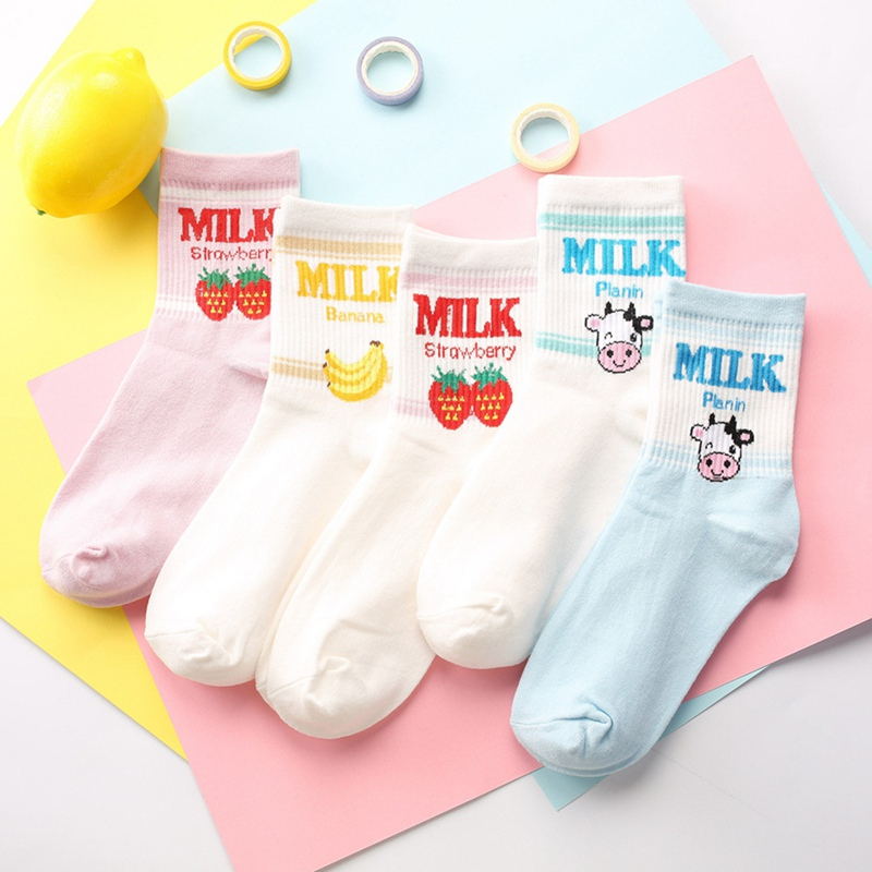 Kawaii Jacquard Fruit Strawberry Milk Pinky/White Women Socks Japanese Harajuku Funny Socks Calcetines Mujer
