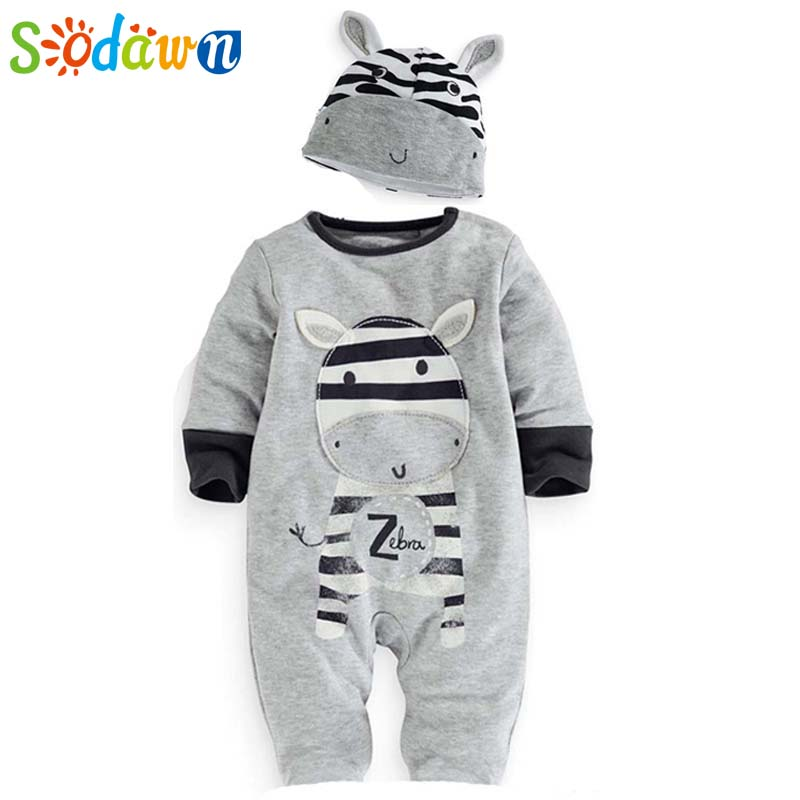 Sodawn Baby Boys Clothes Clothing Cartoon Zebra Jumpsuit Newborn Hats +Romper Sets Casual Baby Boy Girl Rompers  Baby Clothing