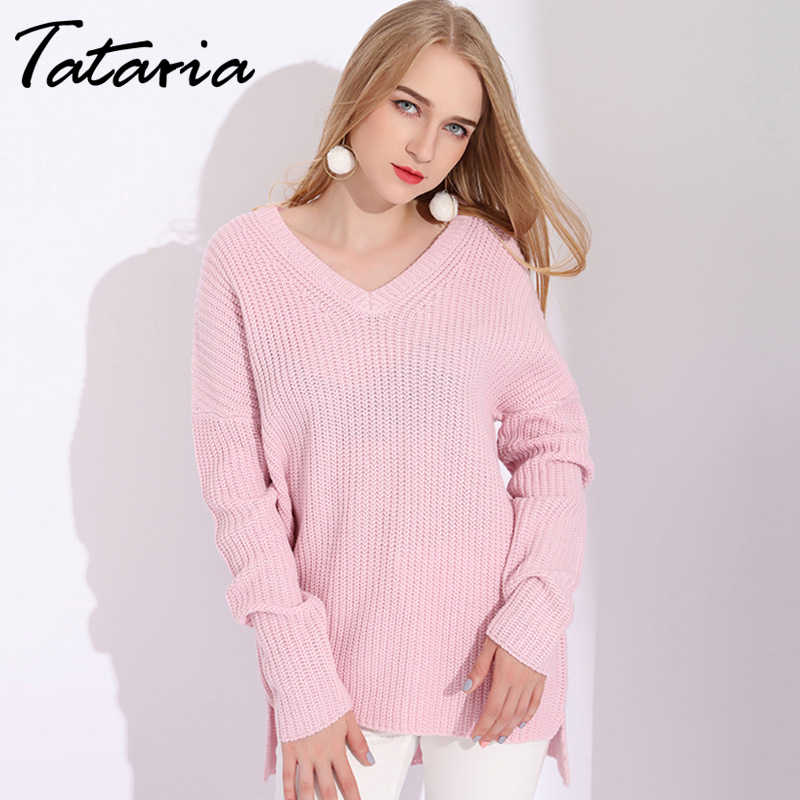 Warm Winter V Neck Knit Sweater Women Pullover Knitted Jumpers Pink Sweaters For Women Sweaters And Pullovers Women's Sweater