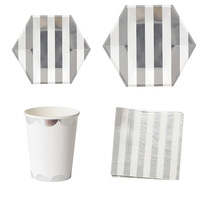 68Pcs/lot Party Paper Plates Napkins Cups Disposable Baby Shower Tableware Silver Stripe Theme Party Wedding Birthday Decorates