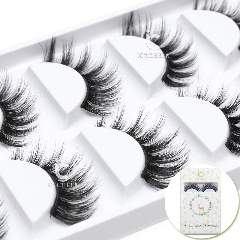 False Eyelashes Icycheer Fashion 3d Mink Natural Thick Fake Eyelashes Black Handmade Mussy Soft Eye Lashes Beauty & Health