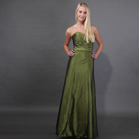 Strapless Forest Green Bridesmaid Dresses Pleats Taffeta Wedding Party Dresses Vestido Longo Bridesmaid Gowns Robe De Soiree