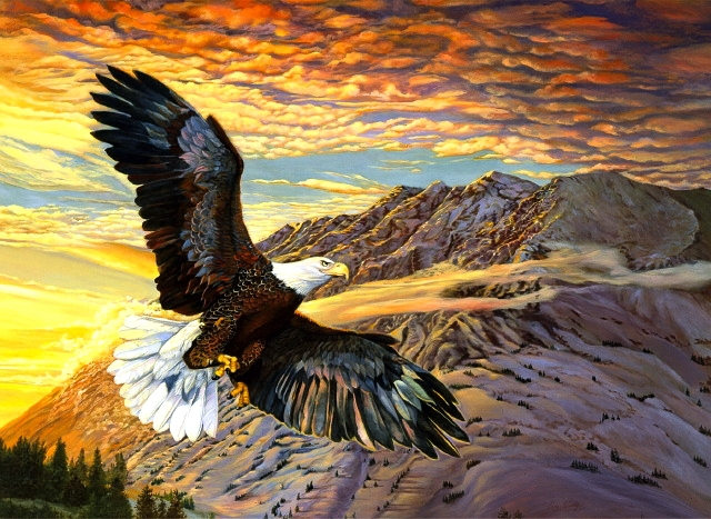 New Diy 3d Berlian Lukisan Elang Melambung Langit Keuletan Mosaik