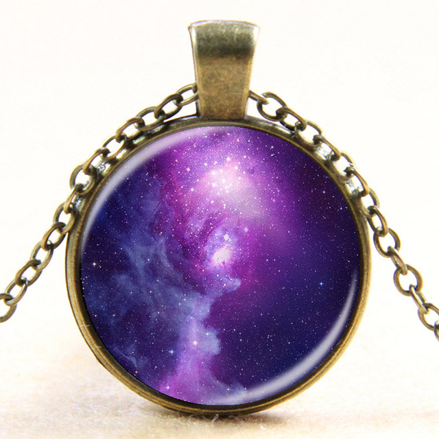 Fashion Galaxy Nebula Space Pendant Necklace Glass Cabochon Vintage Jewelry Statement Chain Necklace Women Best Gift