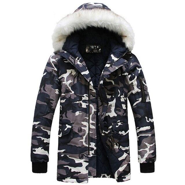 Камуфляж Зимняя Куртка Для Мужчин 2016 Новый Дизайнерский Бренд Одежда Зимняя Куртка мужская Пальто Par Камо Снег Длинные Случайные MC632