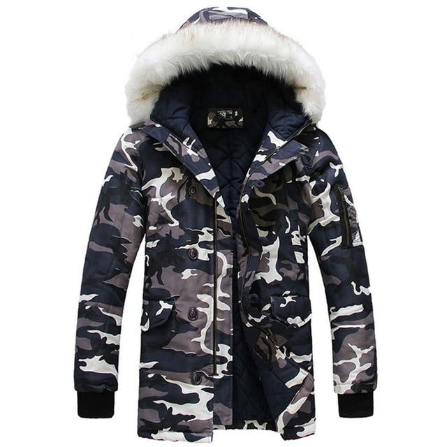 Camouflage Winter Jacket For Men 2016 New Designer Brand Clothing Winter Jacket Men's Coat Par Camo Snow Long Casual MC632