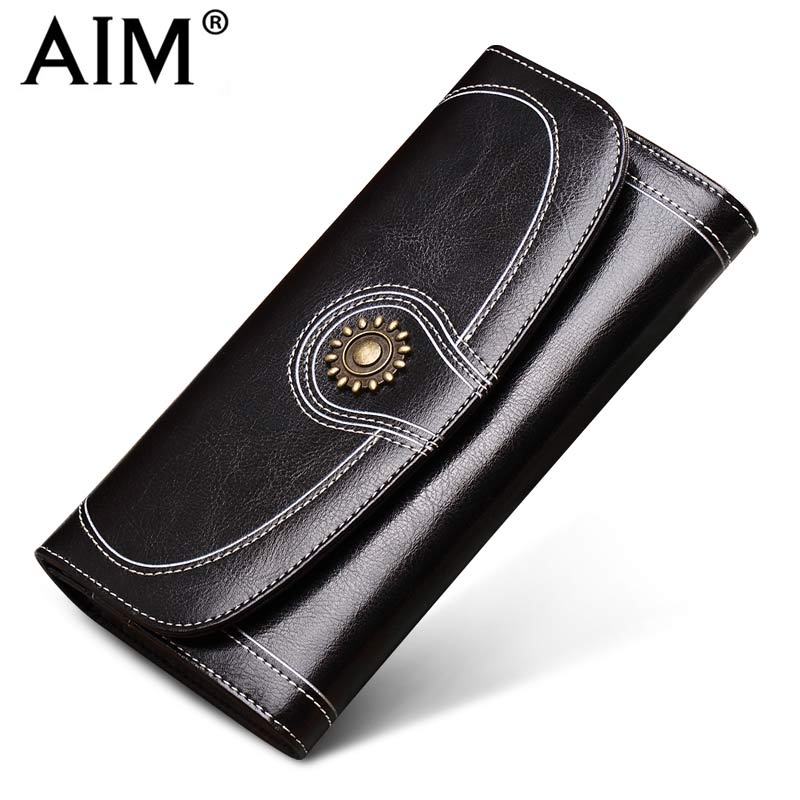 AIM Fashion Long Women's Wallet and Purse Brand Designer Vintage Leather Wallets Women Clutch Bags High Quality Card Holder N801