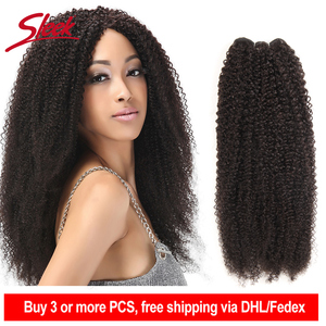 Image 1 - Sleek Afro Kinky Wave Curly Hair 100% Remy Brazilian Human Hair Weave Bundles Natural Color 1 Piece Free Shipping 10 28 Inches