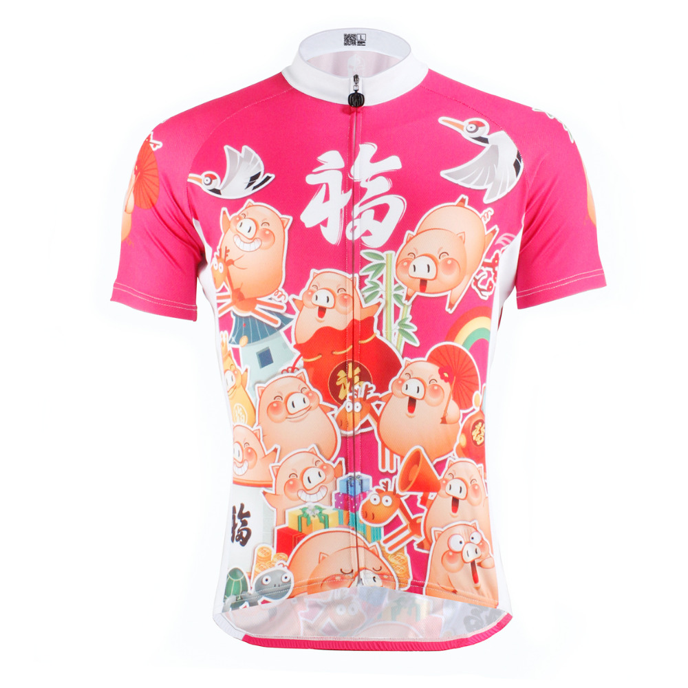 ФОТО cycling jerseys New Cartoon Pig Pattern Men top sleeve Anti-Sweat Cycling Jerseys Pink Bike Clothes Polyester Bicycle Clothing