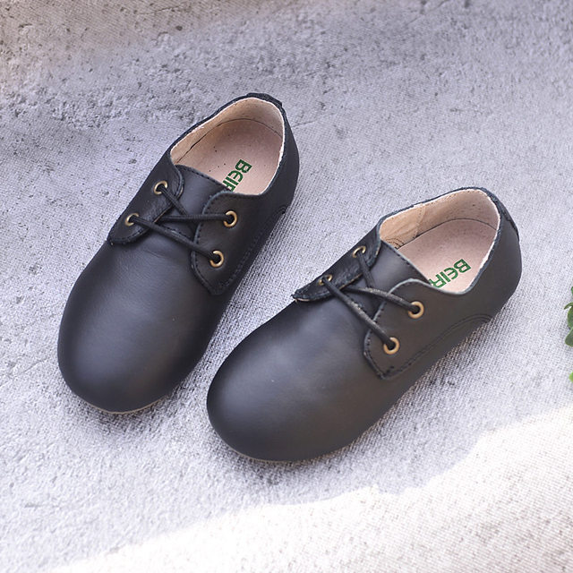 Cowhide Children Sneakers suede leather Boys and Girls lace-up Oxford Shoes Kids casual shoes 3